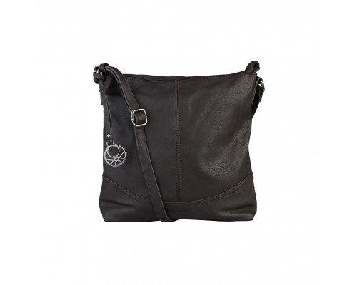 Дамска чанта Benetton за рамо тъмно кафява