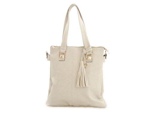 Дамска чанта бежова с две дръжки