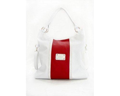 Дамска чанта бяла с червено