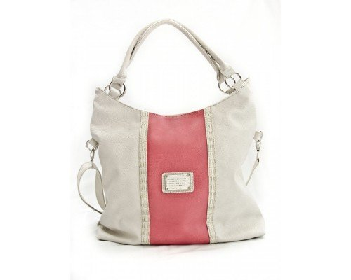 Дамска чанта екрю с розово