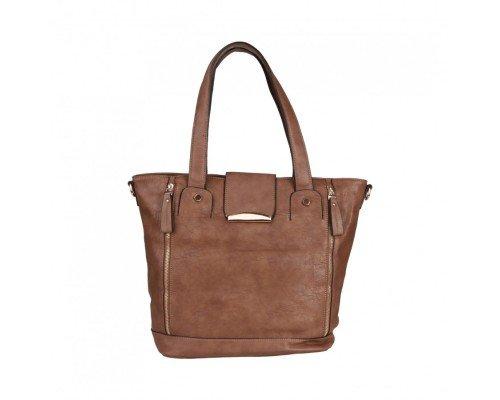 Дамска чанта Dudlin с две дръжки кафява