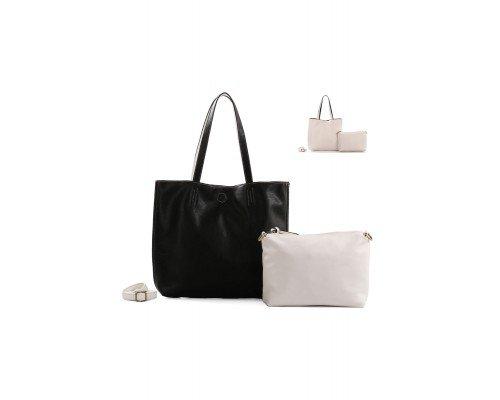 Дамска чанта Ines Delaure черна с две лица