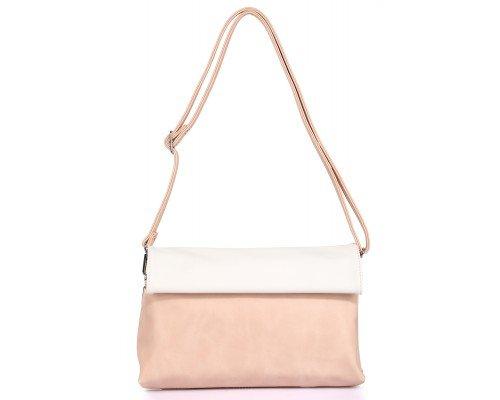 Дамска чанта Ines Delaure бяло и бежово