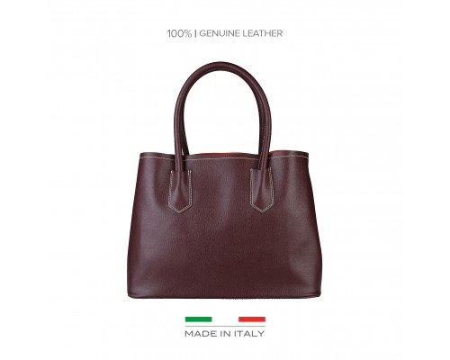 Дамска чанта Made in Italia бордо с две дръжки