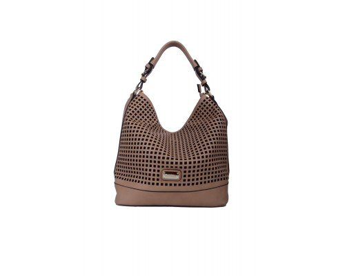 Дамска чанта Max & Enjoy бежова с една дръжка
