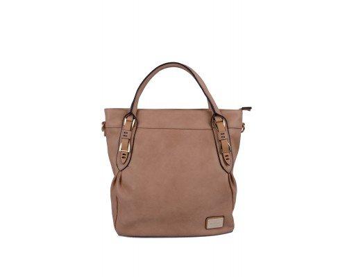 Дамска чанта Max & Enjoy светло кафява с две дръжки