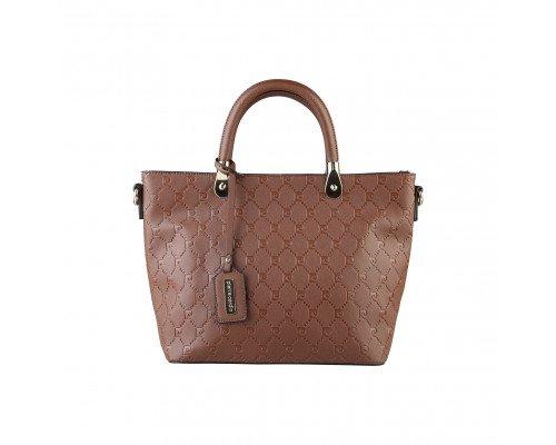 Дамска чанта Pierre Cardin тъмно кафява с две дръжки