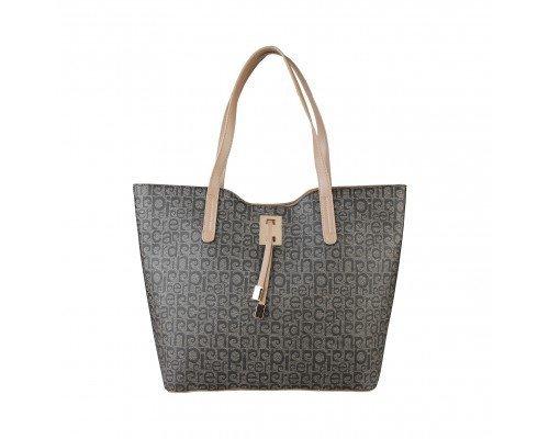 Дамска чанта Pierre Cardin кафяво и черно с две дръжки