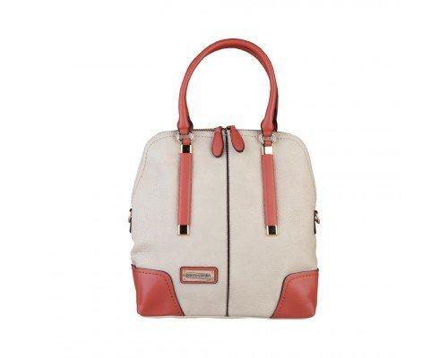 Дамска чанта Pierre Cardin бежова с кафяви дръжки