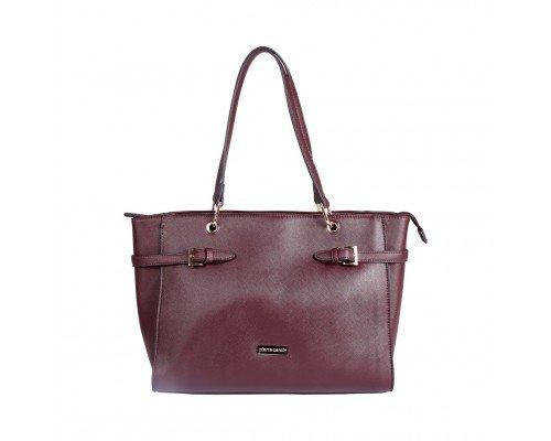 Дамска чанта Pierre Cardin с две дръжки тъмно кафява