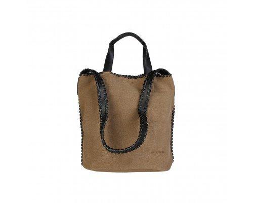 Дамска чанта Pierre Cardin две в едно кафява с две дръжки