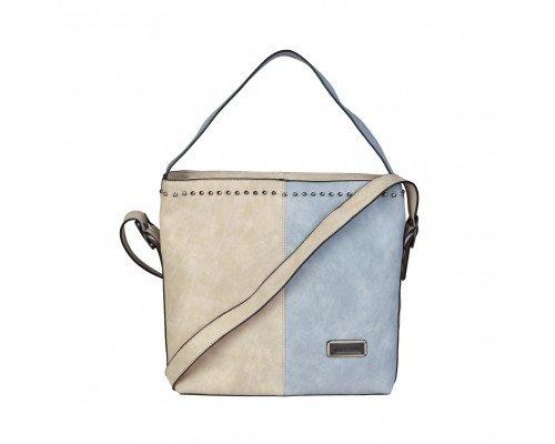 Дамска чанта Pierre Cardin бежово и синьо