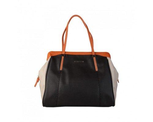 Дамска чанта Sisley три цвята с две дръжки