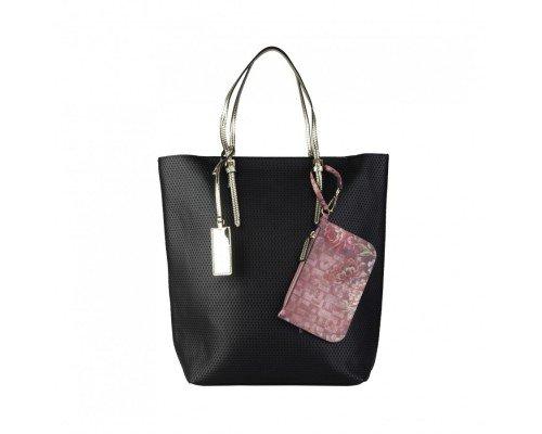 Дамска чанта Sisley черна с две дръжки