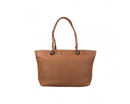 Дамска чанта Sisley кафява с две дръжки