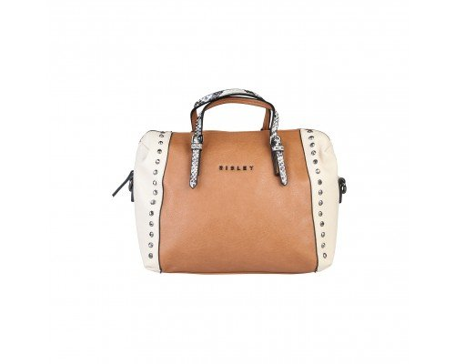 Дамска чанта Sisley кафявo и бежoво