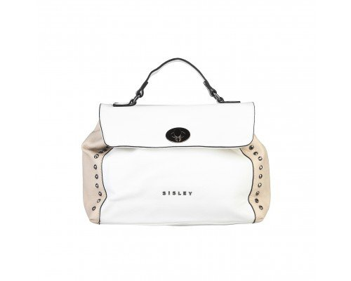 Дамска чанта Sisley бяло и бежово