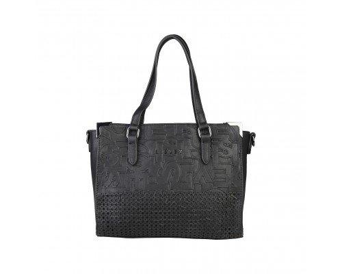 Дамска чанта Sisley с две дръжки черна
