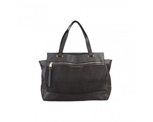 Дамска чанта Sisley тъмно кафява с две дръжки