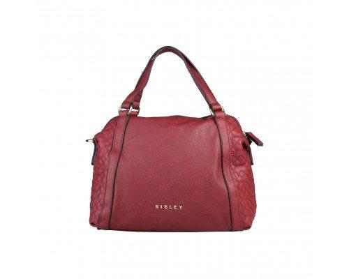 Дамска чанта Sisley бордо с две дръжки