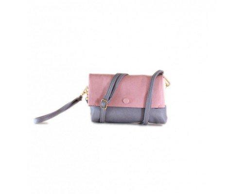 Дамска чанта Tom & Eva сиво и розово