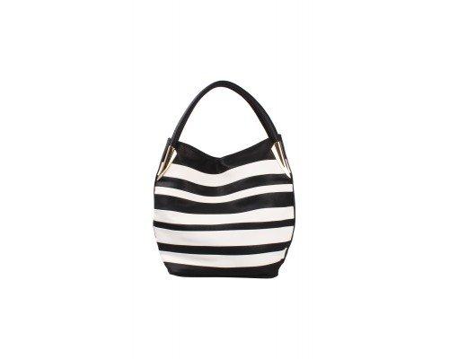 Дамска чанта Tom & Eva с две дръжки бяло и черно