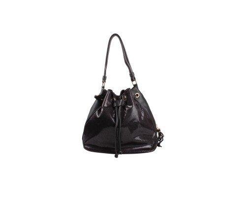 Дамска чанта Tom & Eva черна с кожени връзки