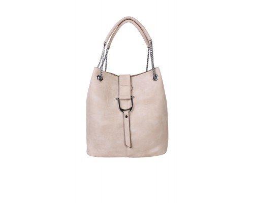 Дамска чанта Tom & Eva светло бежова с две дръжки