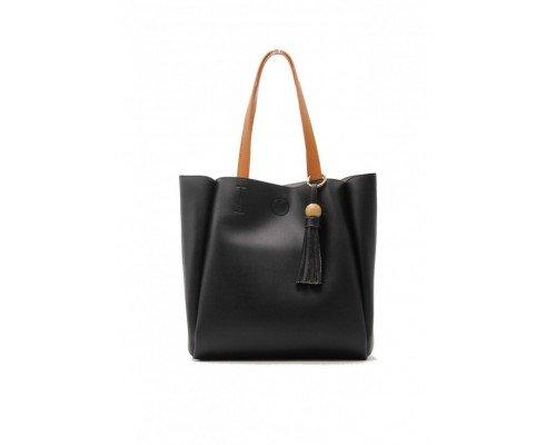 Дамска чанта Tom & Eva черна с кафяви дръжки