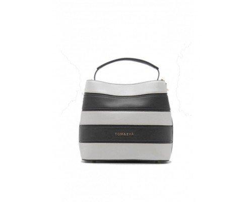 Дамска чанта Tom & Eva черно и бяло с една дръжка